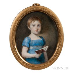 American School, Early 19th Century      Miniature Portrait of a Girl Holding a Book