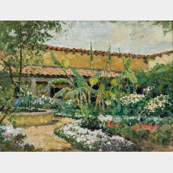Attributed to Theodore Wores (American, 1859-1939)      In Ramona's Garden, San Diego