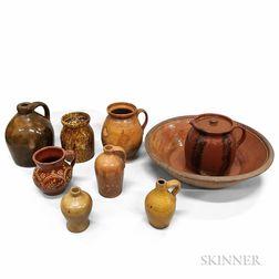 Nine Redware Pottery Vessels