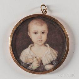 American School, Mid-19th Century      Miniature Portrait of a Boy Holding a Bird