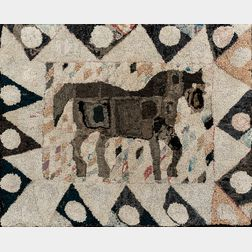 Hooked Rug Depicting a Horse in a Diamond and Dot Border
