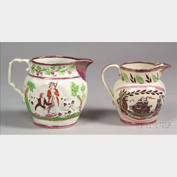 Two Pink Lustre Pottery Jugs