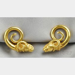 High-karat Gold Ram's Head Earclips, Zolotas