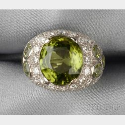 14kt White Gold, Peridot, and Diamond Ring