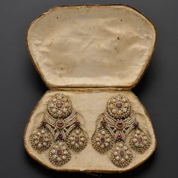 Fine and Rare Pair of Antique Seed Pearl and Ruby Girandole Earpendants