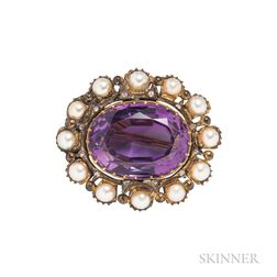 Antique Amethyst, Pearl, and Diamond Brooch