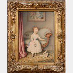 Hannah Fairfield (American, 1808-1894)      Portrait of a Little Girl in White Dress Holding a Bouquet in an Empire Interior