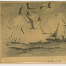 Framed Color Etching, Gull Convoy