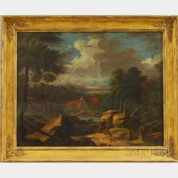 Continental School, 18th Century Style      Landscape with Horseman Approaching a Settlement.