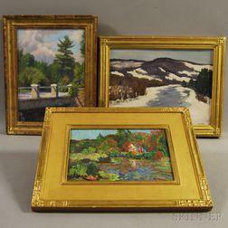 Three Landscape Paintings:      Cecil Vezin Grant (American, 1880-1953), Rising Waters