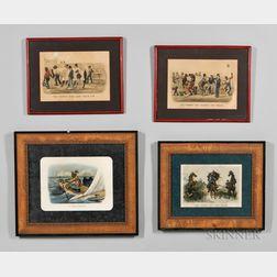 Four Framed Currier & Ives Darktown Series Prints