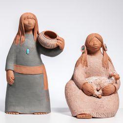 Two Billy Kratzer Terra-cotta Figures