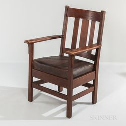 J.M. Young Arts and Crafts Oak Mission Armchair