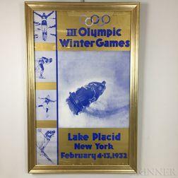 Framed 1932 Lake Placid Winter Olympics Poster