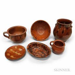 Six Glazed Redware Pottery Items