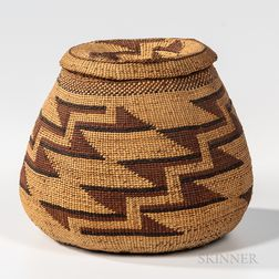 Northwest California Polychrome Lidded Basket
