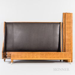 Contemporary Mahogany Veneer Leather-upholstered King Bed