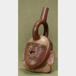 Pre-Columbian Stirrup Spout Portrait Vessel