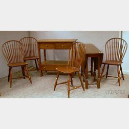 Arts & Crafts Oak Server, a Set of Four Windsor-style Oak Bow-back Side Chairs, and a William & Mary Style Oak ...