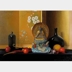 Robert Douglas Hunter (American, b. 1928)      Oriental Screen and Buddha