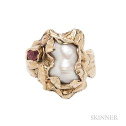 18kt Gold, Cultured Pearl, and Colored Stone Ring, Margaret Barnaby