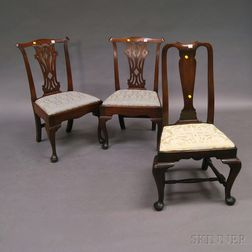 Three English Carved Mahogany Side Chairs