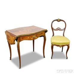Louis XV-style Ormolu-mounted Walnut and Marquetry Drop-leaf Table and Chair