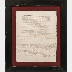 Two Framed Chickasaw Indian Land Purchase Documents Related to Gurdon Hyde