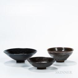 Three Black-glazed Tea Bowls