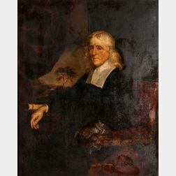 Flemish School, 18th Century, Gentleman with White Hair and Flat Linen Collar, Wearing One Glove, Seated in a Red Armchair Before a Win
