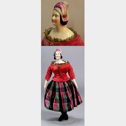 Pink Tinted China Shoulder Head Lady Doll with Molded Hat