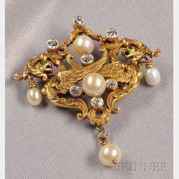 Art Nouveau 14kt Gold, Diamond, and Pearl Pendant/Brooch