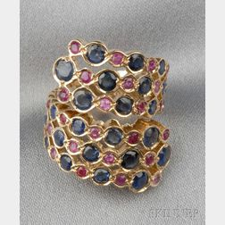 18kt Gold, Sapphire, and Ruby Bypass Ring, Zolotas