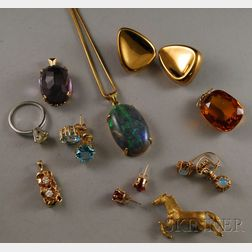 Group of Assorted Gold and Gemstone Jewelry