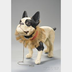 Flocked Papier-mache French Bulldog Pull-toy