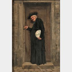 José Frappa (French, 1854-1904)      Cleric at a Doorway