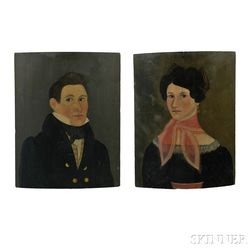 American School, 19th Century      Pair of Portraits of Daniel Aikens and His Wife Rhoda (Richmond) Aikens of Barnard,   Vermont.