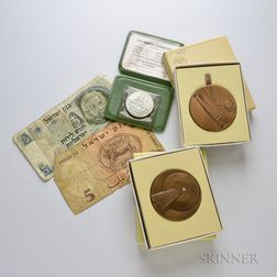Group of Israeli Medals, Coins, and Paper Money