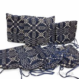 Seven Blue and White Woven Coverlet Seat Cushions and Pillows