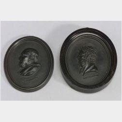 Two Wedgwood and Bentley Black Basalt Portrait Medallions