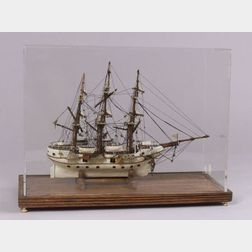 Cased Prisoner of War Ship Model