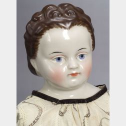 Large Brown-Haired China Shoulder Head Lady Doll