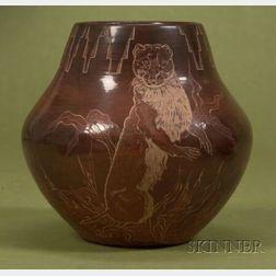 Contemporary Southwest Polished Brownware Pottery Jar