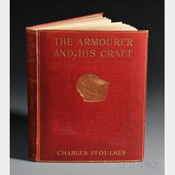 Gilt-stamped Red Cloth Cover of The Armourer and His Craft