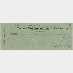 Kennedy, John Fitzgerald (1917-1963) Check, Signed, July 1959.