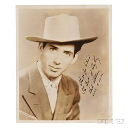 Williams, Hank Senior (1923-1953) Signed Photograph.