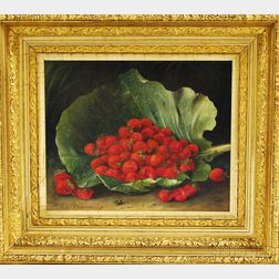 Thomas Addison Richards (American, 1820-1900)      Strawberries in a Cabbage Leaf