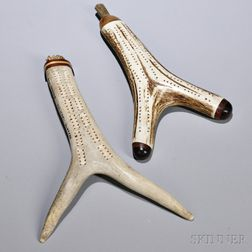 Two Cribbage Boards Fashioned from Antlers, America and/or England, each hollowed out for game piece compartments and mounted with wood