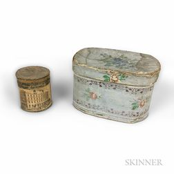 Two Small Bandboxes, a Hollow-cut Silhouette, a Marble Doorstop, and a Cutlery Tray.     Estimate $200-400