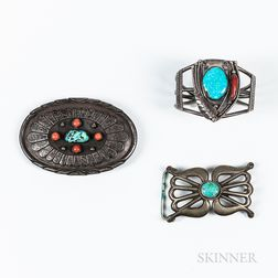 Two Southwest Silver and Turquoise Belt Buckles and Bracelet